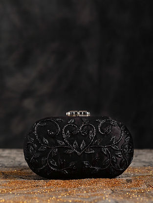 Black Hand Embroiderd Capsule Clutch