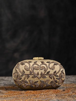 Antique Gold Hand Embroiderd Capsule Clutch