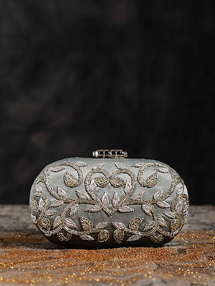 Antique Dull Silver Hand Embroiderd Capsule Clutch