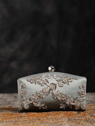 Antique Silver Hand Embroidered Clutch