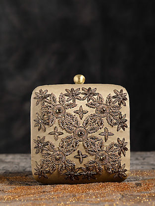 Antique Gold Hand Embroidered Clutch