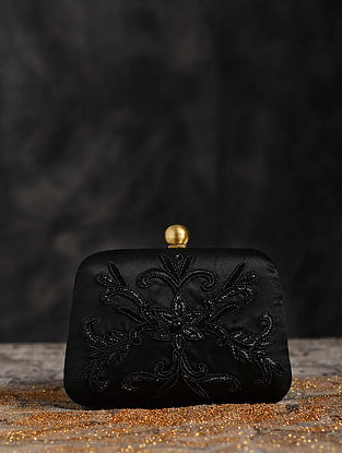 Black Hand Embroidered Clutch