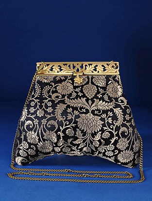 Black Handcrafted Pure Banarasi Brocade Clutch