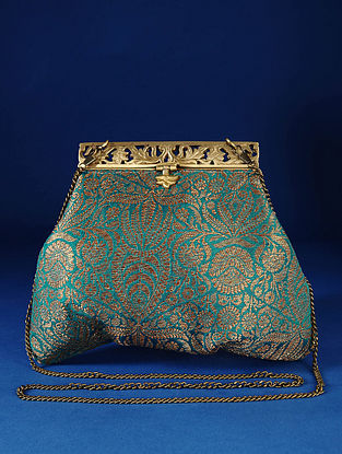 Green Handcrafted Pure Banarasi Brocade Clutch