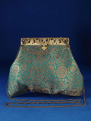 Green Handcrafted Pure Banarasi Brocade Clutch