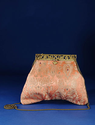 Peach Handcrafted Pure Banarasi Brocade Clutch