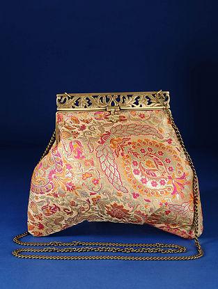 Beige,Pink Handcrafted Pure Banarasi Brocade Clutch