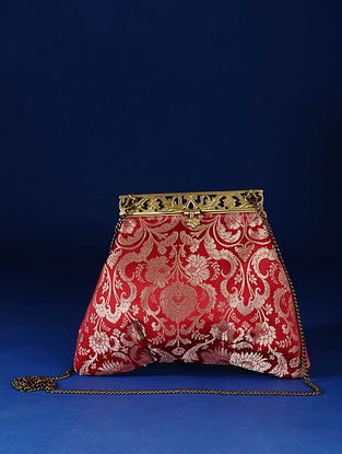 Red Handcrafted Pure Banarasi Brocade Clutch