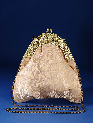 Beige Gold Handcrafted Pure Banarasi Brocade Clutch