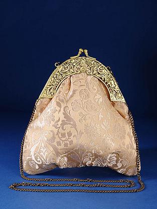 Beige Gold Handcrafted Pure Banarasi Brocade Clutch