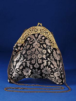Black Handcrafted Pure Banarasi Brocade Clutch