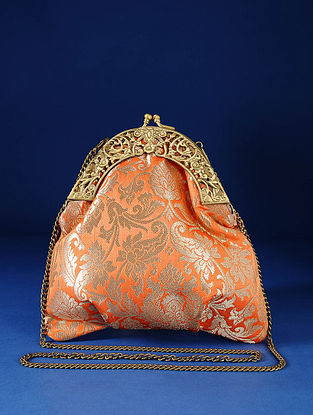 Peach Handcrafted Pure Banarasi Brocade Clutch