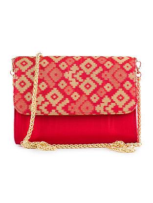 Red Handmade Ikat Brocade Silk Clutch