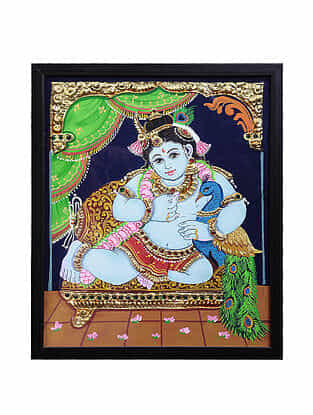 Lord Krishna Tanjore Painting with 22k Gold Foiling (12.6in x 10.6in)