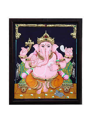 Lord Ganesha Tanjore Painting with 22k Gold Foiling (13in x 10.6in)