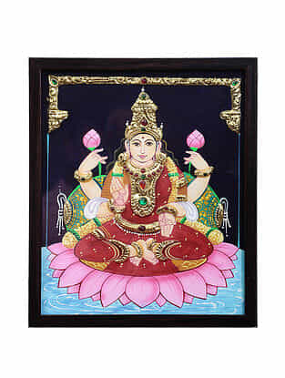 Goddess Lakshmiji Tanjore Painting with 22k Gold Foiling (12.7in x 10.7in)