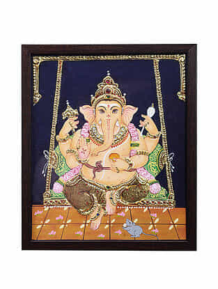 Lord Ganesha Tanjore Painting with 22k Gold Foiling (12.6in x 10.6in)