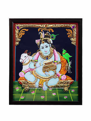 Lord Krishan Tanjore Painting with 22k Gold Foiling (12.6in x 10.6in)