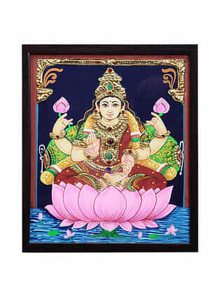 Goddess Lakshmiji Tanjore Painting with 22k Gold Foiling (13.7in x 10.6in)