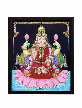 Goddess Lakshmiji Tanjore Painting with 22k Gold Foiling (12.6in x 10.6in)