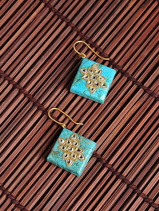 Gold Plated Kundan Silver Earrings with Turquoise