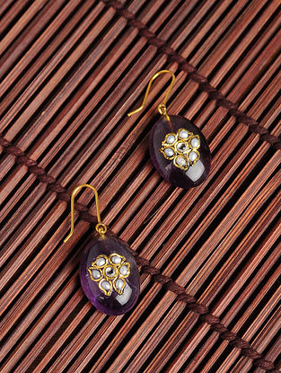 Gold Plated Kundan Silver Earrings with Amethyst