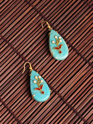 Red Enameled Gold Plated Kundan Silver Earrings with Turquoise