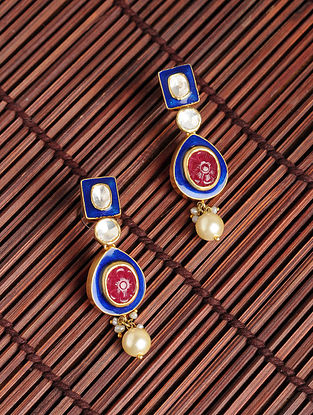 Blue Enameled Gold Plated Silver Earrings with Ruby and Pearls