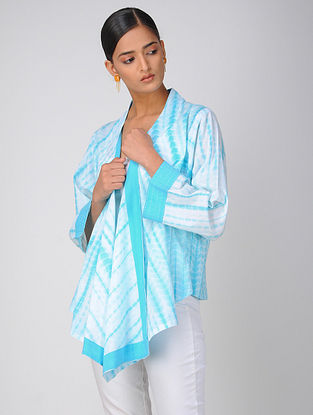 Turquoise Shibori Cotton Shrug