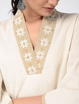 Ivory Hand-embroidered Cotton Top