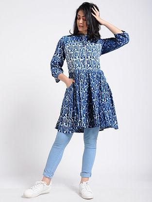 Indigo Dabu-Printed Cotton Tunic