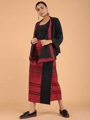 Red Black Handwoven Cotton Overlay Jacket