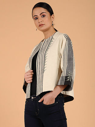 Ivory Handwoven Cotton Quilted Jacket
