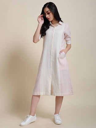 Ivory Pink Hand Embroidered Cotton Shirt Dress