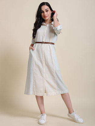 Ivory Green Hand Embroidered Cotton Shirt Dress