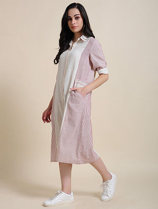 Ivory Maroon Hand Embroidered Cotton Shirt Dress