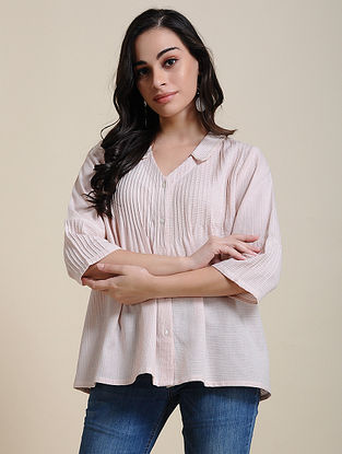 Ivory Pink Hand Embroidered Cotton Top