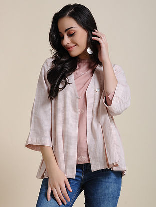 Ivory Pink Hand Embroidered Cotton Jacket