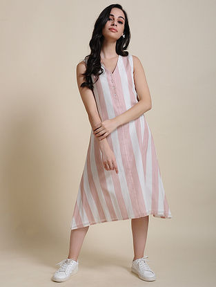 Pink White Cotton Dress with Manipuri Weave