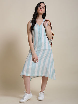 Blue White Cotton Dress with Manipuri Weave