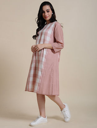 Pink Cotton Dress with Manipuri Weave