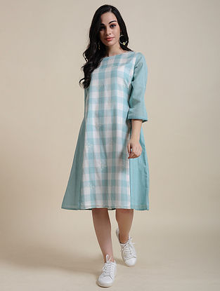 Blue Cotton Dress with Manipuri Weave