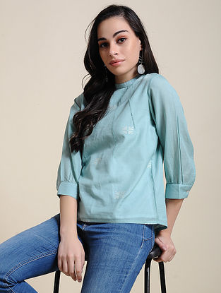 Blue Cotton Top with Manipuri Weave