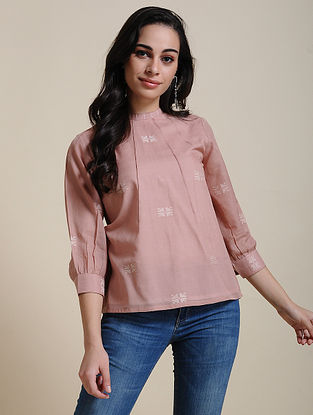 Pink Cotton Top with Manipuri Weave