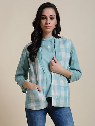 Blue Cotton Jacket with Manipuri Weave
