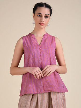 Pink Handwoven Cotton Top with Hand Embroidery