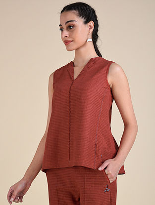 Rust Handwoven Cotton Top with Hand Embroidery