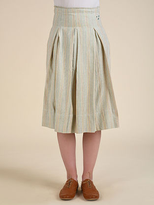 Mint Green Handwoven Cotton Skirt with Hand Embroidery