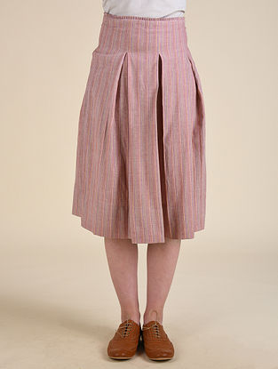 Pink Handwoven Cotton Skirt with Hand Embroidery