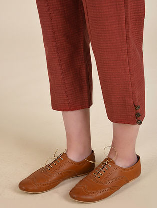 Rust Handwoven Cotton Capri with Hand Embroidery